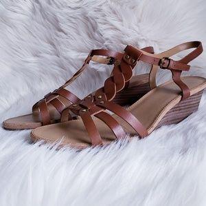 Franco Sarto Durango  Cognac Leather Wedge Sandal